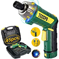 Cordless Screwdriver, 6Nm Electric Screwdriver, 4V 2000mAh Li-ion, with 45 Free Accessories, 9+1 Torque Gears, Adjustable 2 Position Handle with LED, USB Rechargeable