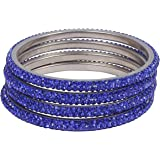 CB Collection Ethinc Blue Color Stones Lac Bangle for Women 2.4