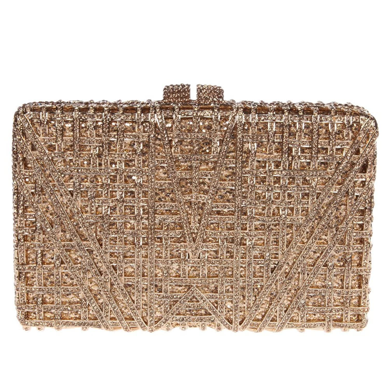 Santimon Women Clutch Hollow Out Box Envelope Rhinestone Evening Bags with Removable Strap