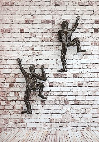 Amazon.com: SET of 2 Climbing Men Metal Wall Art Sculpture, Bronze ...