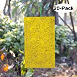 Kensizer 20-Pack Dual-Sided Yellow Sticky Traps for Flying Plant Insect Like Fungus Gnats, Whiteflies, Aphids, Leaf Miners, Thrips, Other Flying Plant Insects - 6x8 Inches, Twist Ties Included