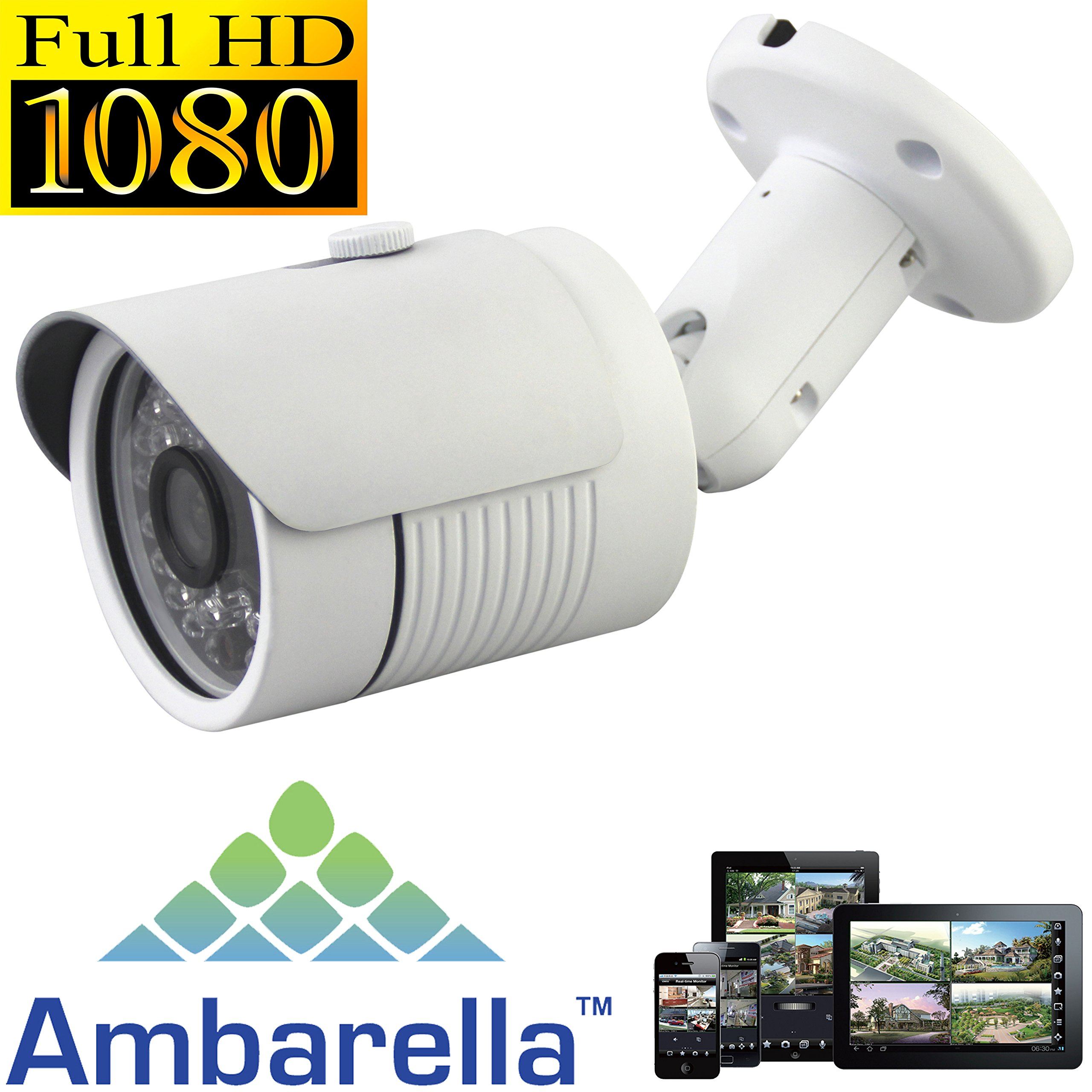 USG Sony + Ambarella DSP 2.4MP 1080P HD-IP Network Bullet Security Camera - 3.6mm Wide Angle Lens - Home/Business Video Surveillance - Outdoor/Indoor IP66 Weatherproof Vandalproof 24x IR LEDs