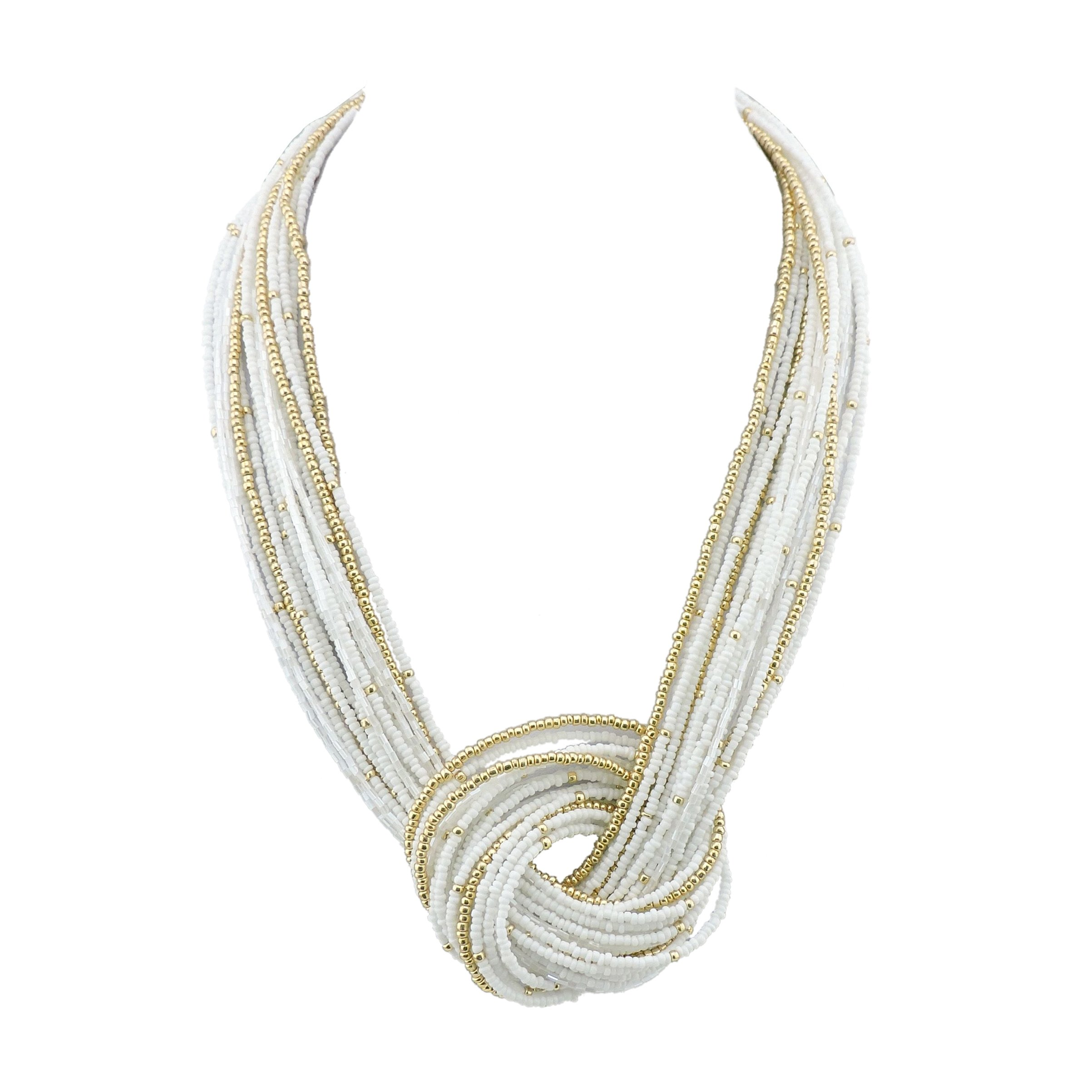 BOCAR White Seed Beads Multilayer Chunky Bib Statement Knot Necklace (NK-10316-white)