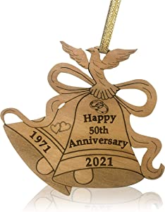 Jolette Designs Happy Anniversary Ornament - Romantic Wooden Wedding Ornaments - Laser Cut for Christmas Decorations with Bells, Dove, Year - Keepsake Wedding Gift for Couples (50th)