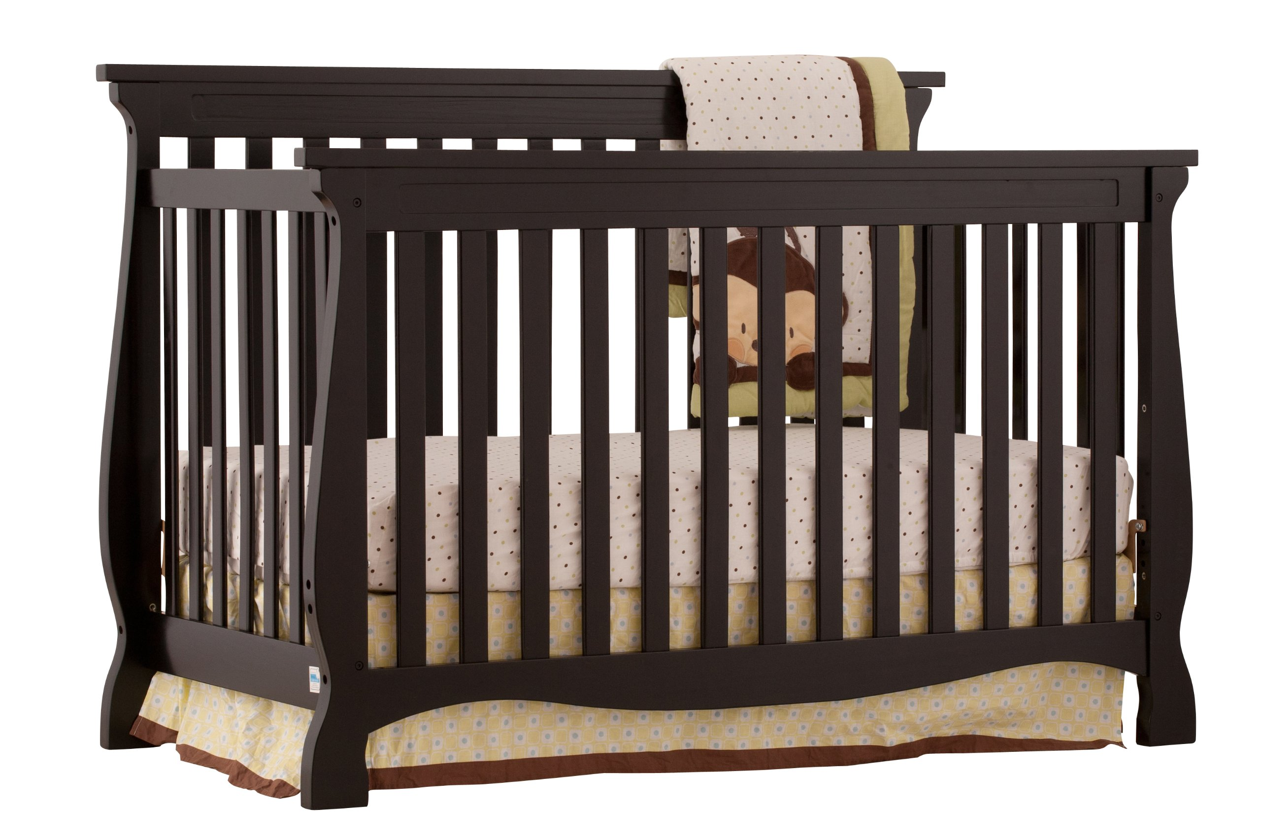 Stork Craft Carrara 4-in-1 Fixed Side Convertible Crib, Black