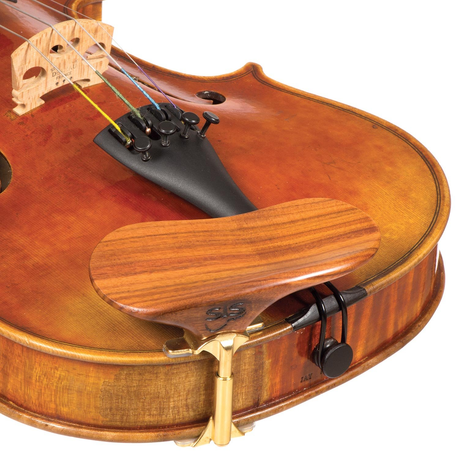 SAS Rosewood Chinrest for 3/4-4/4 Violin or Viola with 24mm Plate Height and Goldplated Bracket BHBU0503A560