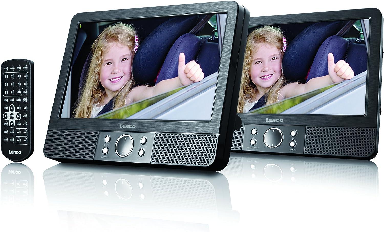 Lenco Dvd Player Tragbar Mes 404 2 X 9 Zoll Fernbedienung 2x Kopfstützenbefestigung 12v Fahrzeugadapter Schwarz Audio Hifi