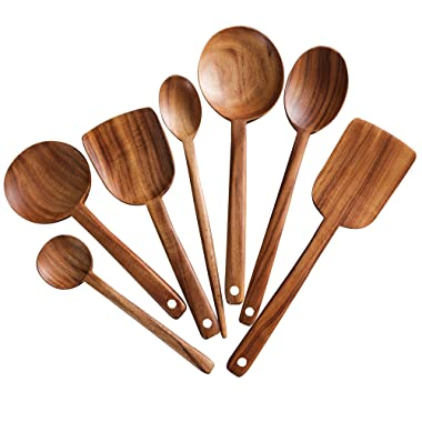 7pcs Long Handle Wooden Cooking Utensil Set Non-stick Pan Kitchen Tool Wooden Cooking Spoons and Spatulas by UBae (7pcs Set)