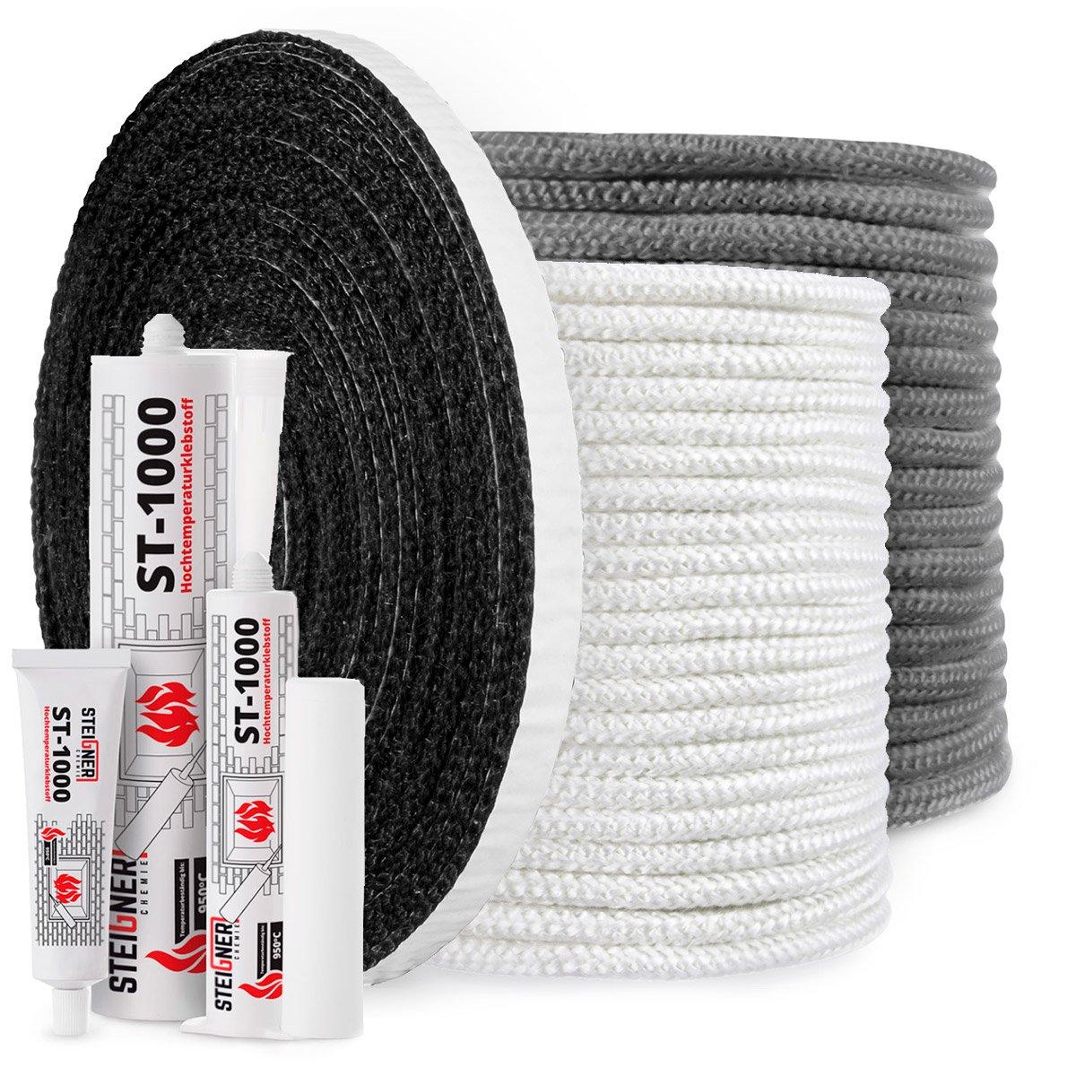 Negro sellador resiste al calor hasta 550/°C 1 m 10x2mm STEIGNER Banda de Fibra de Vidrio de Chimenea SKD03