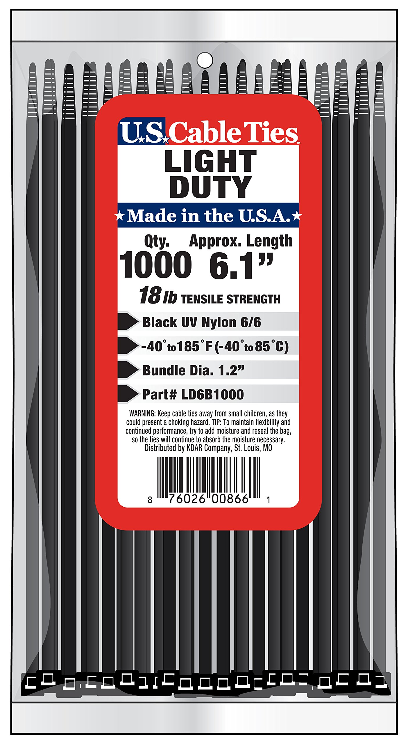 US Cable Ties LD6B1000 6-Inch Light Duty Cable Ties, UV Black, 1000-Pack