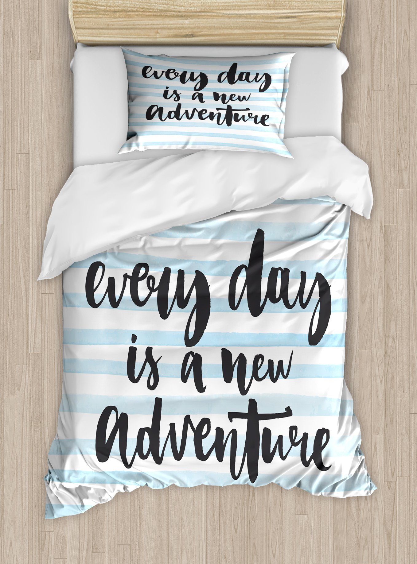 Lunarable Quote Twin Size Duvet Cover Set, Everyday is a New Adventure Calligraphy on Striped Background, Decorative 2 Piece Bedding Set with 1 Pillow Sham, Baby Blue White and Charcoal Grey