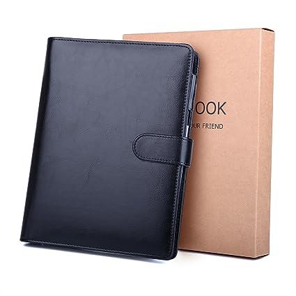 Cuaderno de piel A5 BESTOOO recargable, hojas sueltas, para negocios, conferencias, viajes, libreta, cuaderno de 80 páginas de grosor, color marrón ...