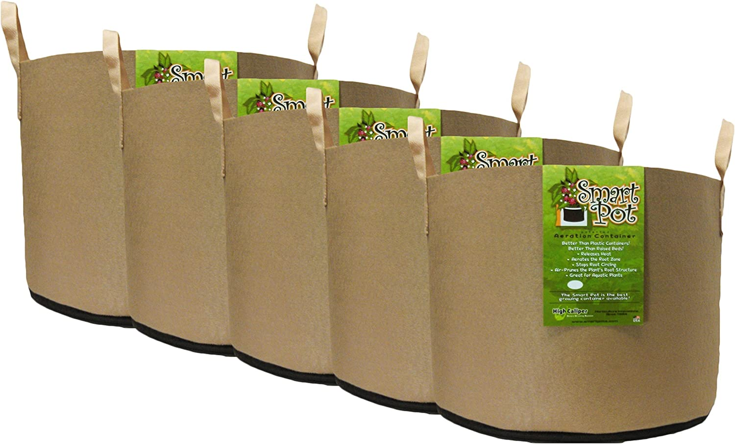 Smart Pot Soft-Sided Fabric Garden Plant Container Aeration Planter Pots Tan with Strap Handles, 15 gallon, 5 Pack