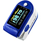 FaceLake FL-350 Finger Pulse Oximeter, with Carrying Case, Lanyard & Batteries, Blue (Color: Blue, Tamaño: 3in L x 1in H x 1 in W)