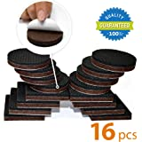 "NON SLIP DOUBLE PREMIUM Furniture Pads 16 piece 2""! SelfAdhesive Rubber Furniture Feet with Solid Felts Square and Round Design – Best Floor Protectors Safety Your Floor and Fix in Place Furniture"