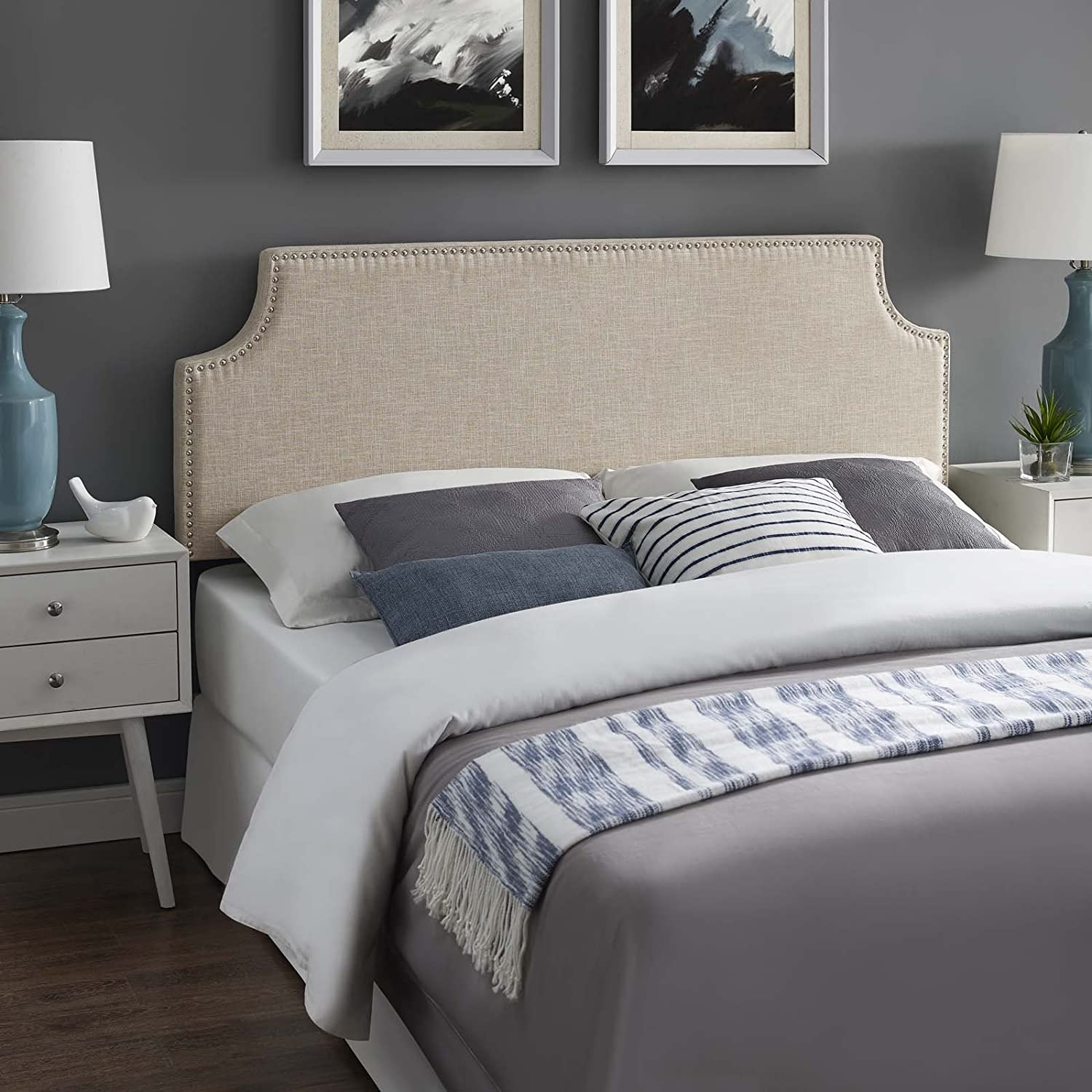 Modway Laura Linen Fabric Upholstered King Size Headboard with Cut-Out Edges and Nailhead Trim in Beige