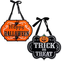 DII Indoor and Outdoor Wood Fall Halloween Hanging Door Decorations and Wall Signs, Haunted House Decor, For Home,...