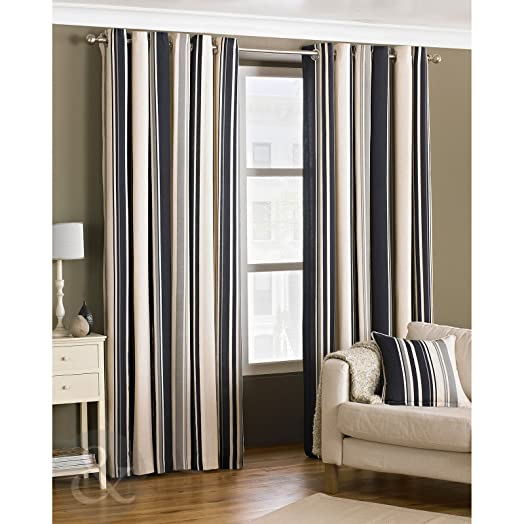 Just Contempo Curtain Pair 66u0026quot; X 72u0026quot; (living Room) Ready Made  Striped Part 56