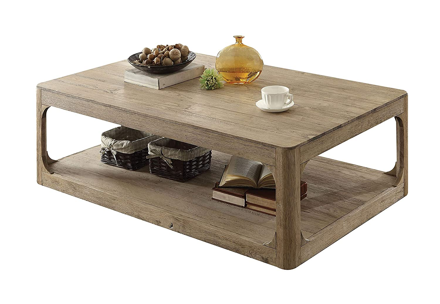 Amazon com major q 55 l transitional style natural oak finish rectangular wooden living room occasional coffee table with open shelf 9082235 kitchen