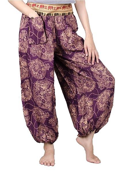 05d4ccb6ec4 Lofbaz Women s Elephant Belt Floral Genie Pants Floral Purple One Size