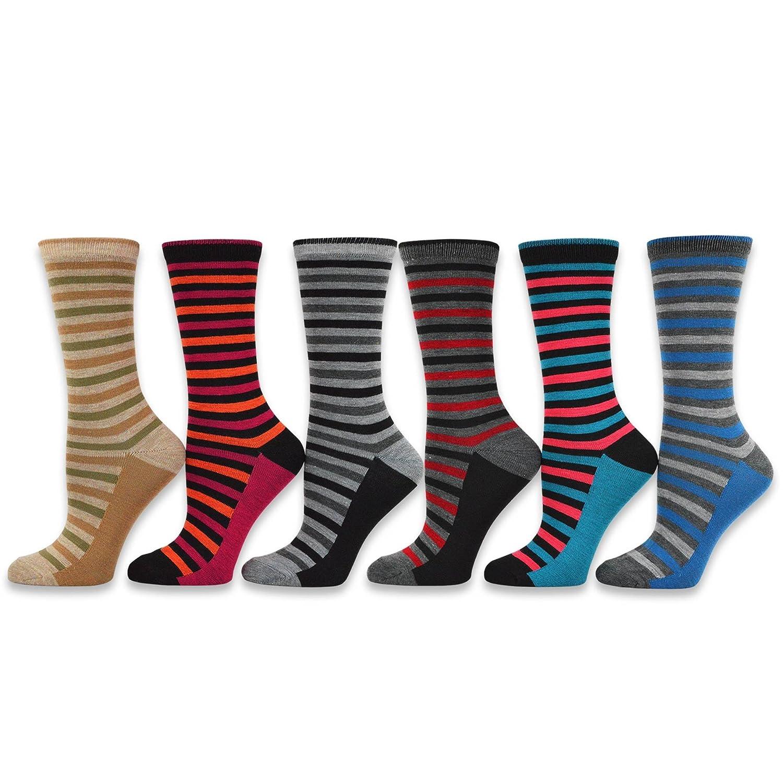 TeeHee Women's Ladies Value 6-Pack Crew Socks soxnet Inc S/11189-6P07
