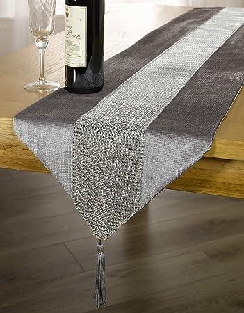 Silver / Grey Diamanté Sparkle Velvet Bling Table Runner With Tassels  13u0026quot; ...