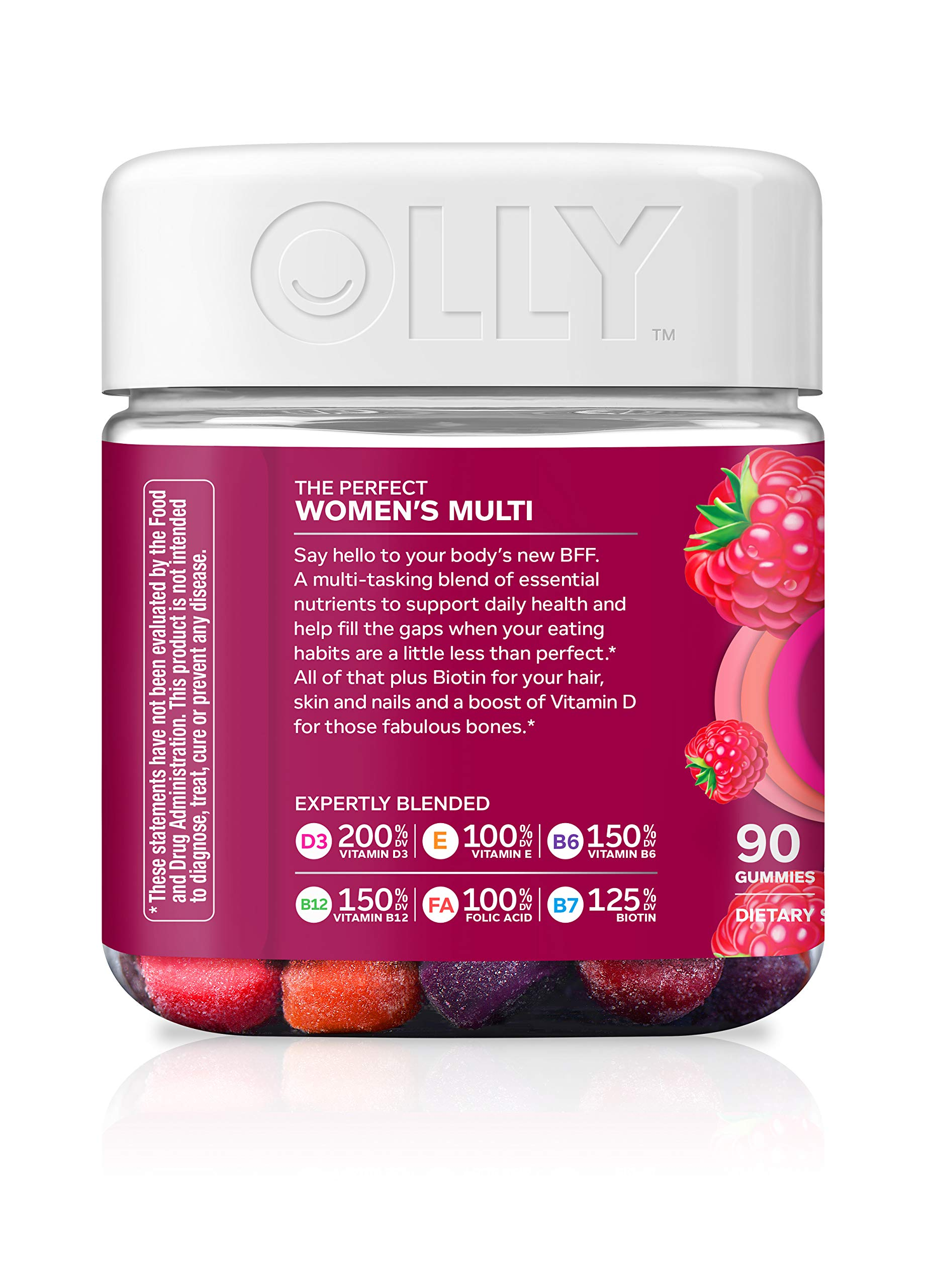 OLLY Perfect Women's Multivitamin Gummy Supplement with Biotin & Folic Acid, Blissful Berry