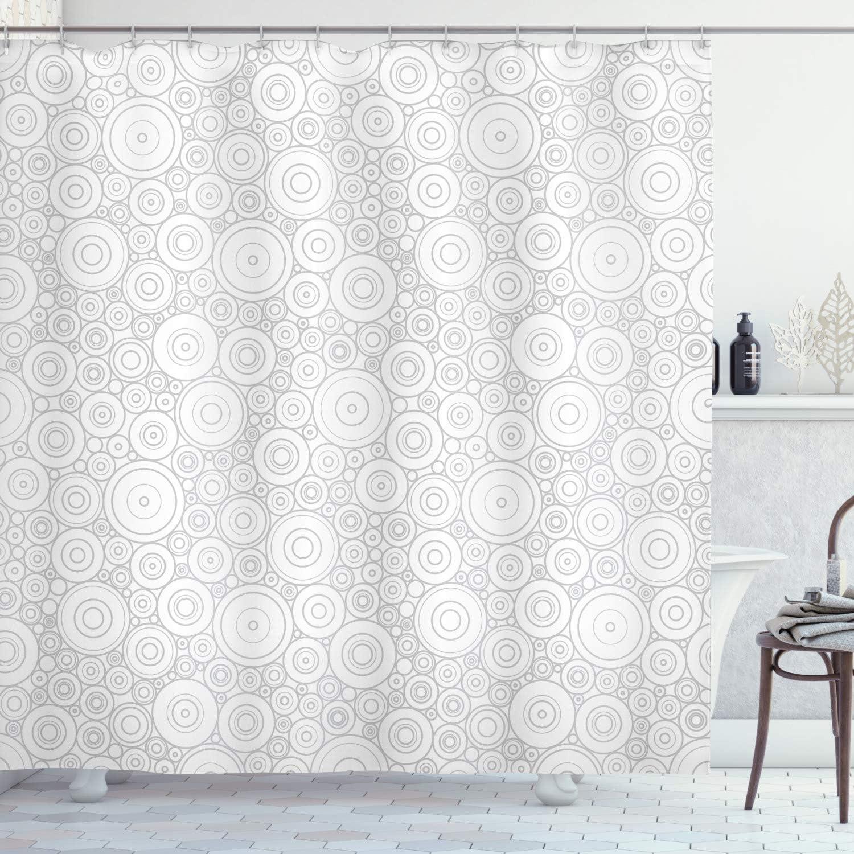 Abakuhaus Grey Shower Curtain Geometric Circles Retro Cloth Fabric Bathroom Decor Set With Hooks 78 Inches Grey White Amazon Co Uk Kitchen Home