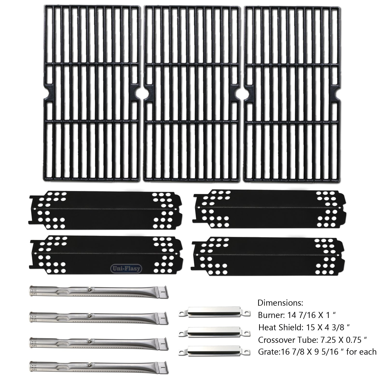 Uniflasy Gas Grill Replacement Parts Repair Kit (Burner, Heat Shield Plate, Cooking Grate, Crossover Tube) Accessories for Charbroil 463436215, 463436213 and Thermos 466360113 & More Grills