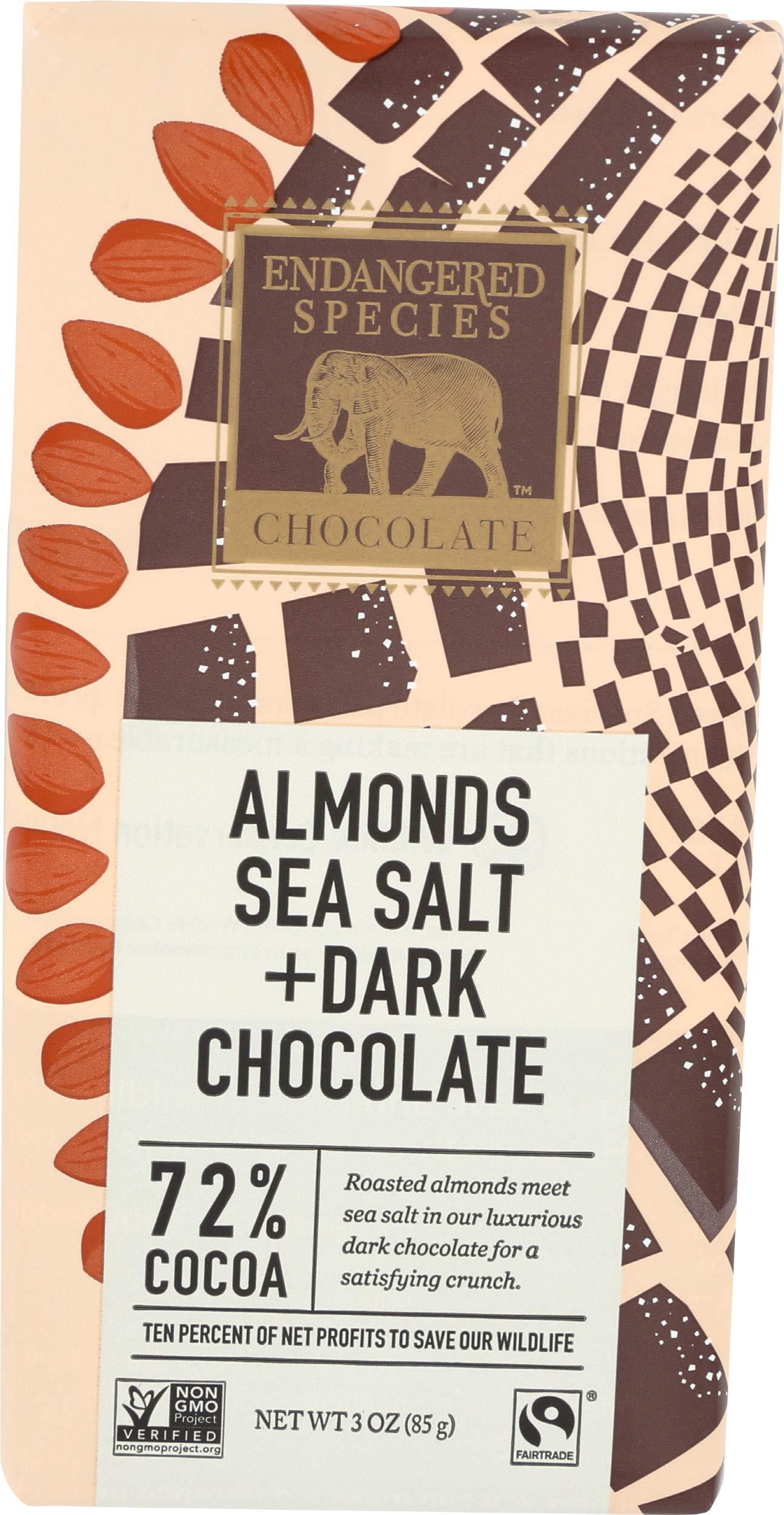 Endangered Species, Bar Chocolate Dark Almonds And Sea Salt 72%, 3 oz