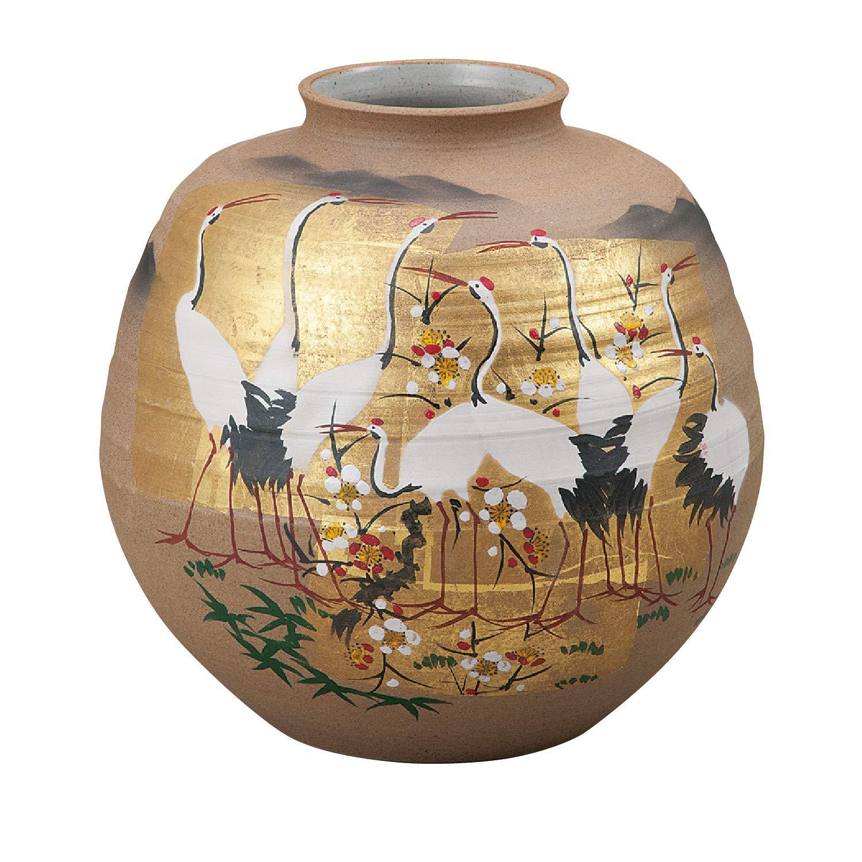 九谷の花瓶【九谷焼】7号花瓶 金箔群鶴 B07GZS7NYN