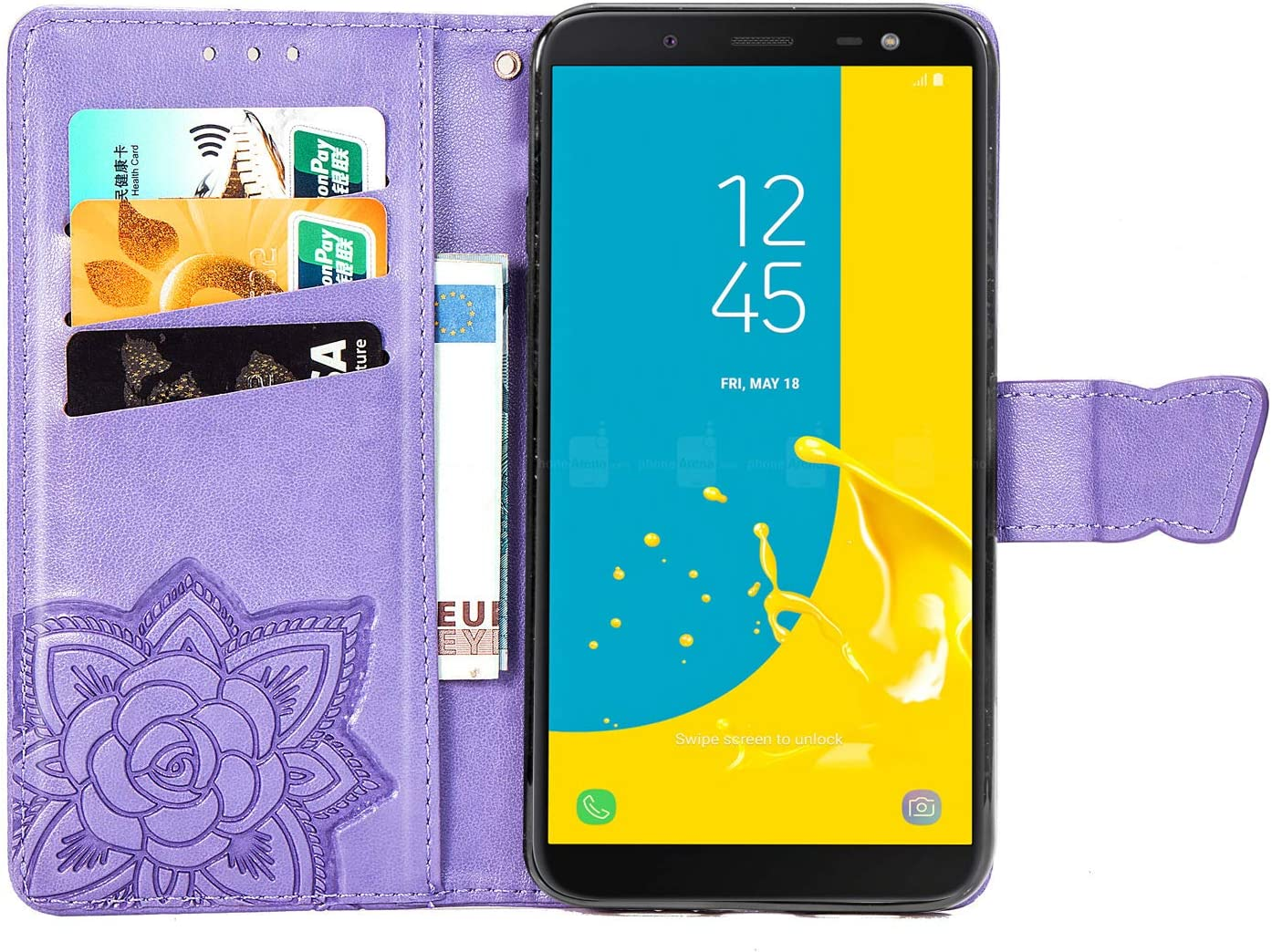 Housse en Cuir avec Porte Carte Fermeture par Rabat Aimant/é Antichoc /Étui Case pour Samsung Galaxy J6//J600F LOSDA030253 Gris Lomogo Coque Galaxy J6 2018 Portefeuille