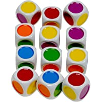Color Dot, 6-Sided Novelty Dice _ Bundle of 12 Identical Dice