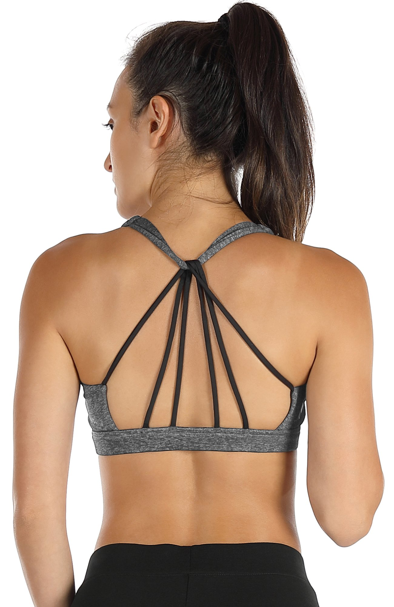 icyzone Padded Strappy Sports Bra Yoga Tops Activewear Workout Clothes for Women(S,Charcoal) by icyzone
