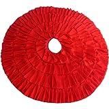 """Ruffled Christmas Tree Skirt 48"""" Red Taffeta by Angelique Home Fashions"""