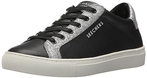 SKECHERS WOMENS US 9.5 Side Street Glitz Kickz Rise Fit Sneaker Black Glitter