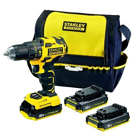 STANLEY FATMAX FMC627D3S-QW- Taladro percutor Brushless 18V, 30.600 ipm, con 3 baterías de litio 2Ah y bolsa de transporte