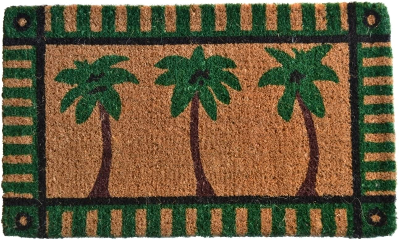 Imports D cor Decorated Coir Doormat, Palm Tree, 18 by 30-Inch