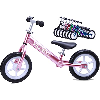 "12"" Anodised Aluminium Alloy Kids Push Ultralight Balance Bike (4.3 lbs) for Chirld 18month to 5years old Bicycle, Pink By Vilobyc …"