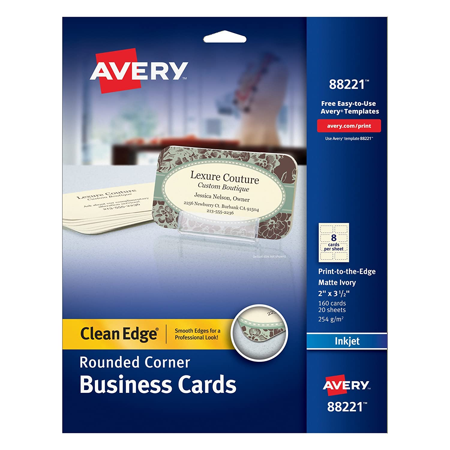 Amazon avery two side printable clean edge rounded corner amazon avery two side printable clean edge rounded corner business cards for inkjet printers ivory pack of 160 88221 business card stock reheart Image collections