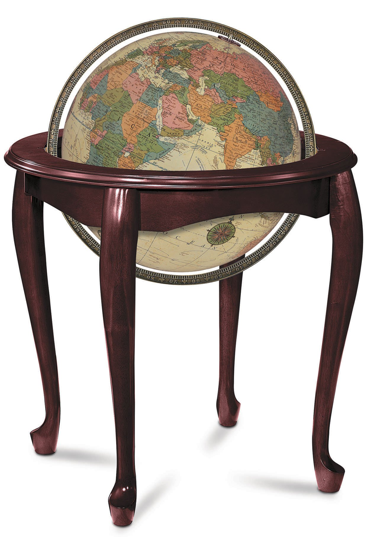 Replogle Globes Illuminated Queen Anne Globe, Antique Ocean, 16-Inch Diameter by Replogle