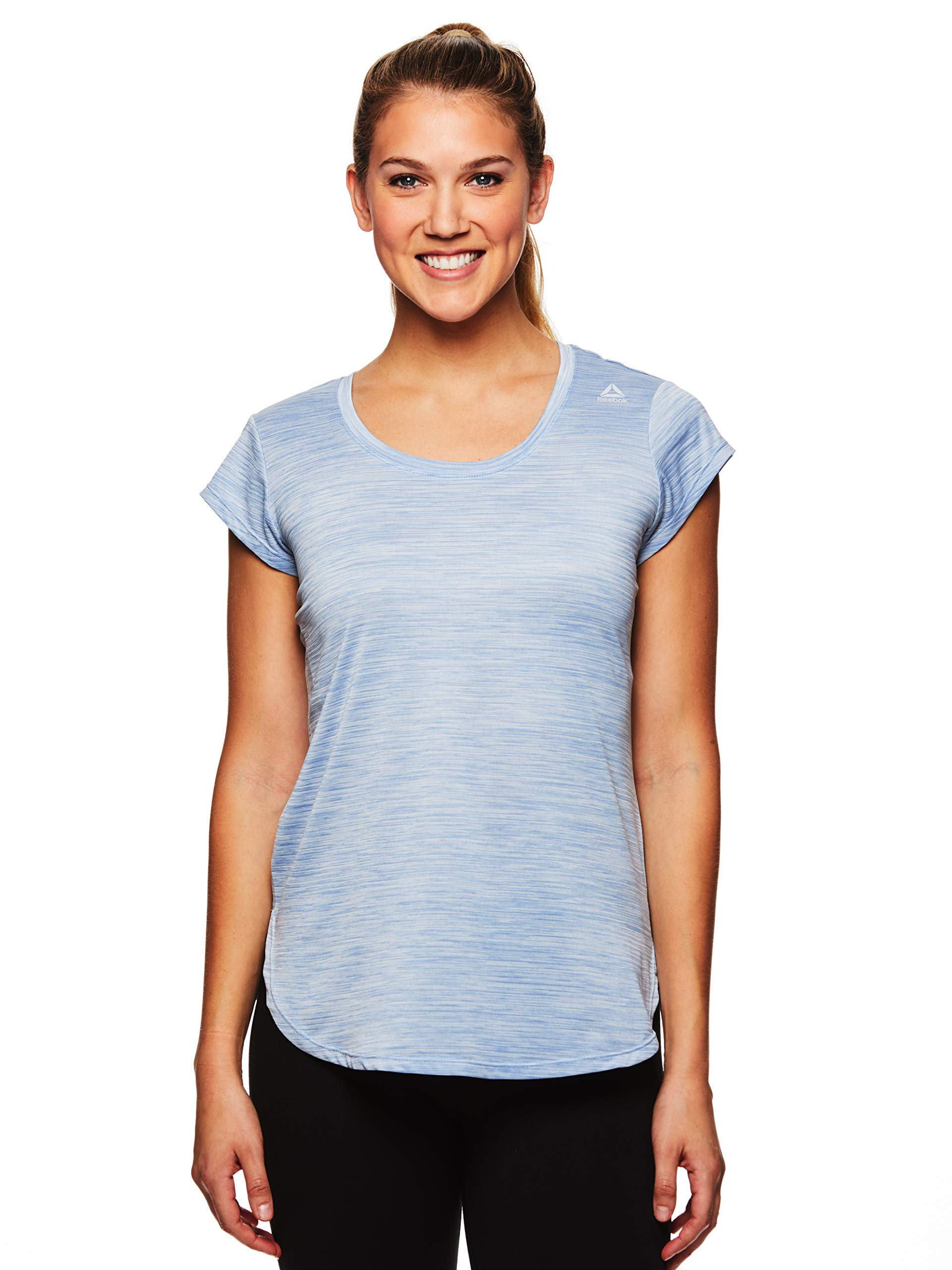 Reebok Women's Legend Performance Short Sleeve T-Shirt with Polyspan Fabric - Faded Denim Heather, X-Small