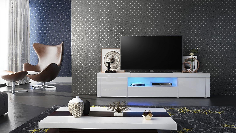 Meuble Tv Armoire Basse Santiago Corps En Blanc Haute Brillance  # Meuble Tv Armoire