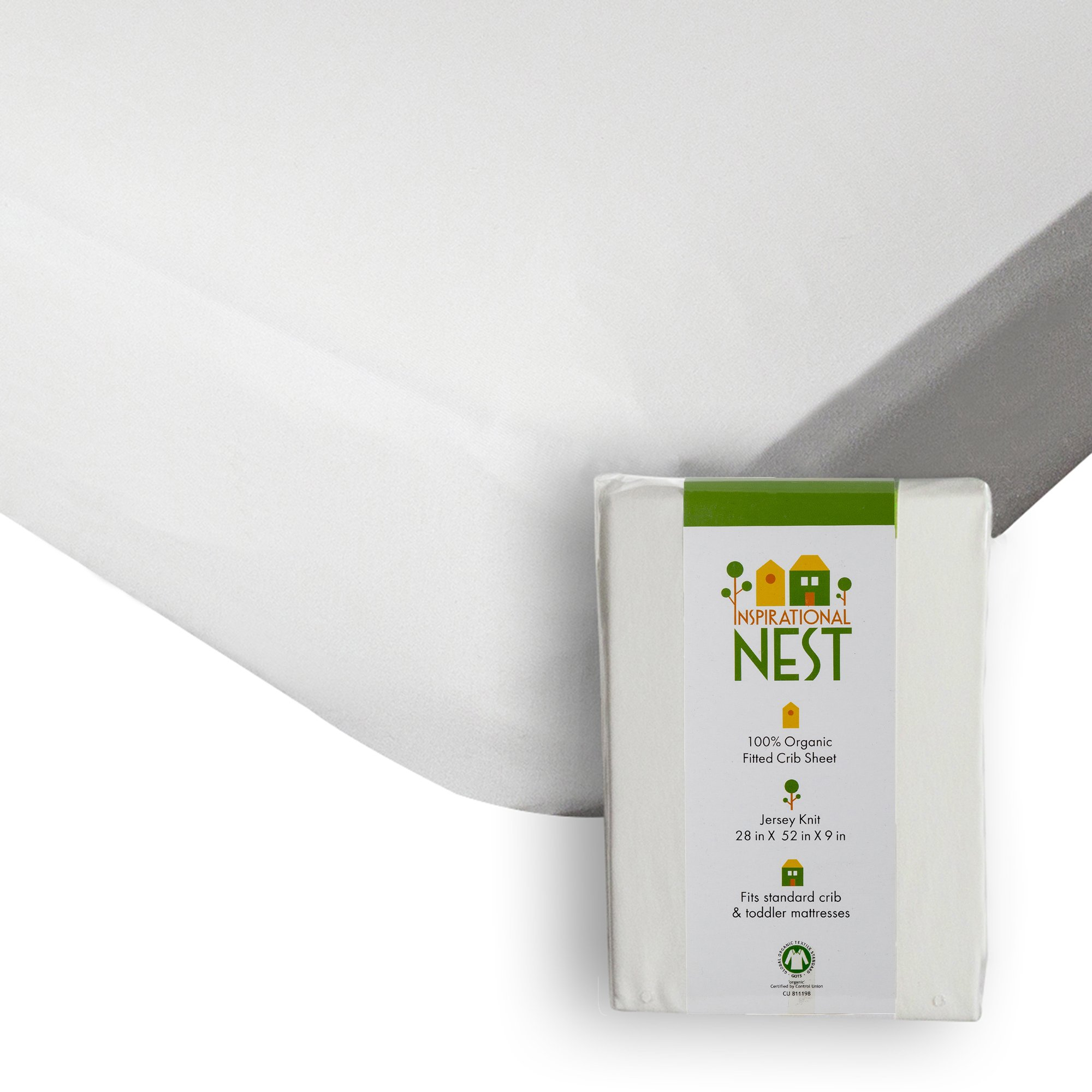 Organic Fitted Crib Sheet - GOTS Certified -100% Organic Cotton- Jersey Knit - More than Organic, Ultra-comfy, Clean and Safe Sheets (Natural/Ecru/Off White) by Inspirational NEST (Image #2)