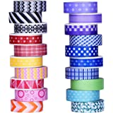 Mudder Colorful Decorative Washi Tapes Washi Masking Tape for Scrapbooks DIY Arts Crafts Office Party Supplies, 20 Pieces