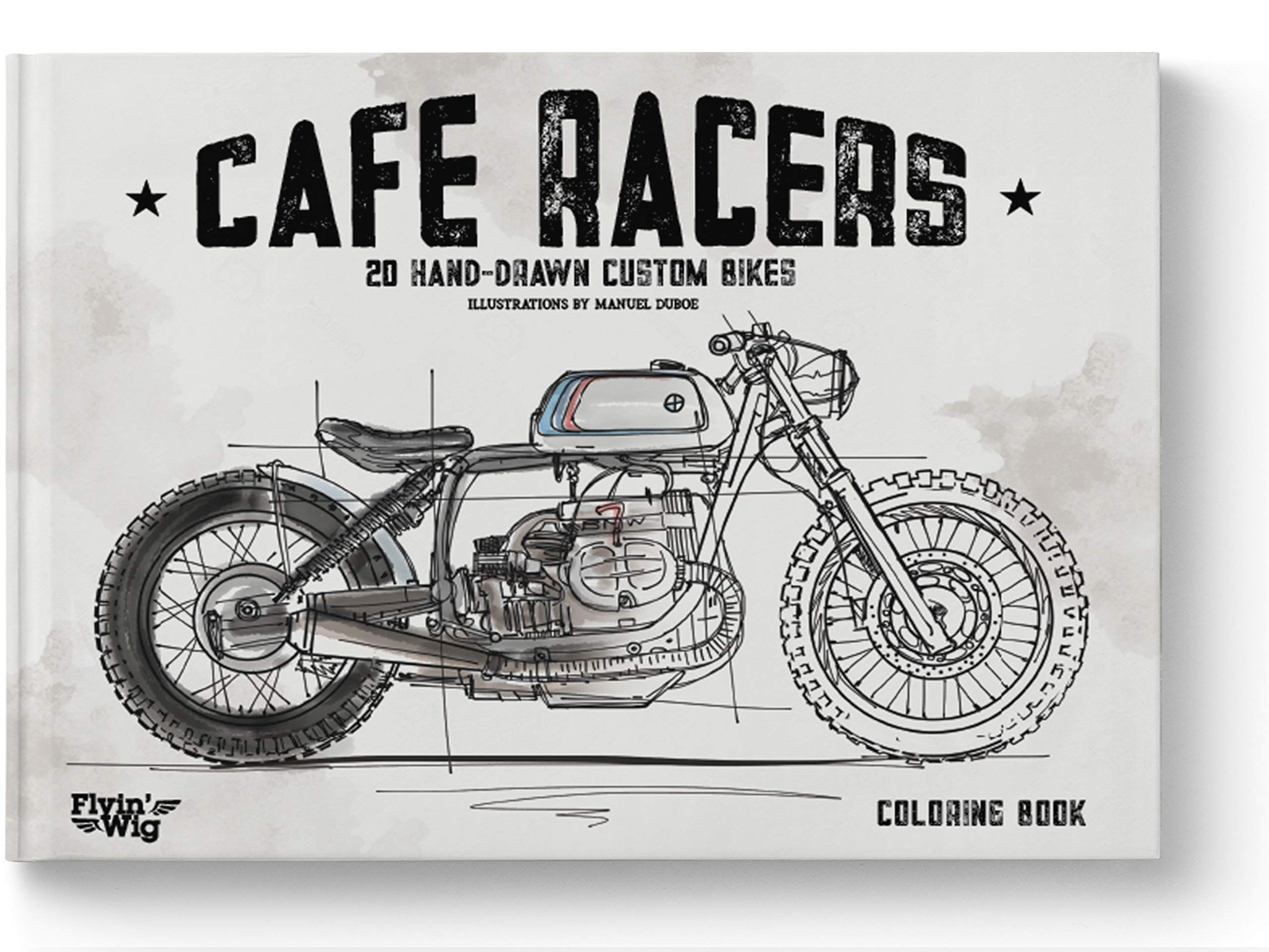 Motorcycles Coloring Book For Men Boys Cafe Racer Book Manuel