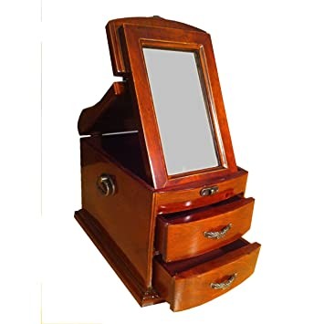 Schmuckschatulle Holz Mahagonie Farben Spiegel Kolonialstil Antik