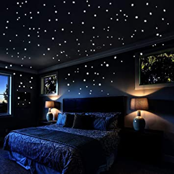 Pegatinas De Pared Con Estrellas Que Brillan En La Oscuridad 253 Puntos Adhesivos Y Luna Luminosas Para Decoración De Dormitorio De Los Amantes Pegatinas De Pared De Star Wars Regalo Para