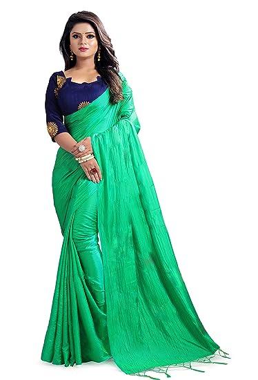 1df79bcbbc Ugam Fashion Silk Saree (U-3002-Green Plain._Green_5.5 Meters ...
