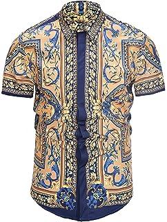 PIZOFF Mens Short Sleeve Luxury Print Dress Shirt